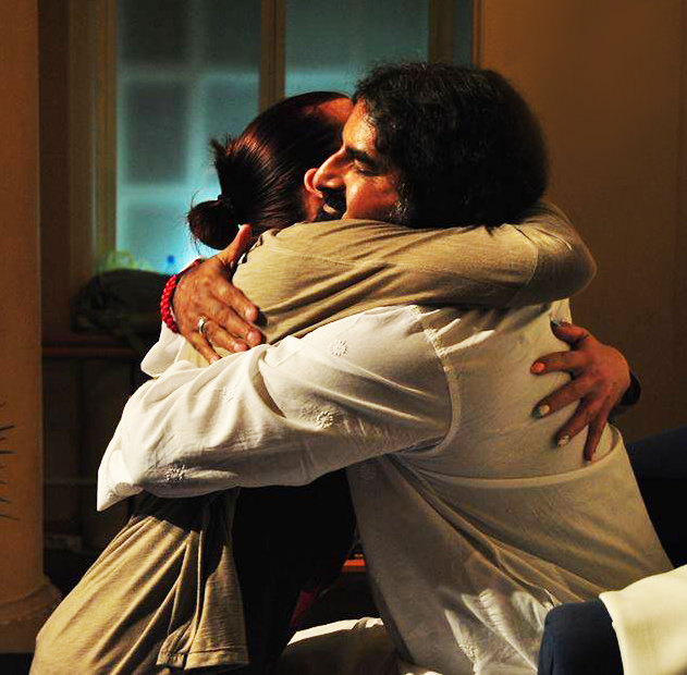 The moment you hug, your heart chakra merges with the heart chakra of the other person and there is an energy transmission.