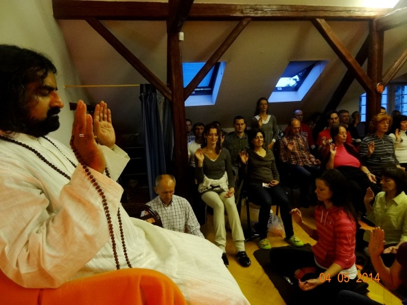 Mohanji blessing the grouip during Power of purity meditation