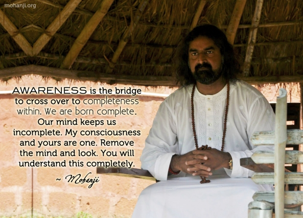 Mohanji quote Awareness is the bridge to completeness within