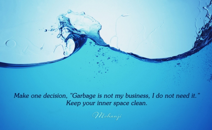 Mohanji quote - Make one decision Garbage is not my business