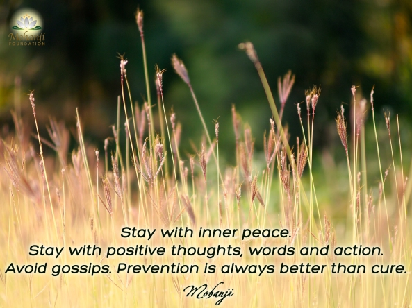 Mohanji quote - Stay with inner peace