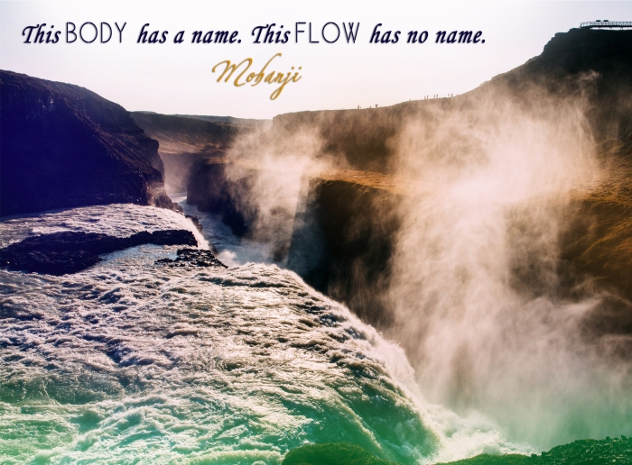 Mohanji quote - This body has a name This flow has no name