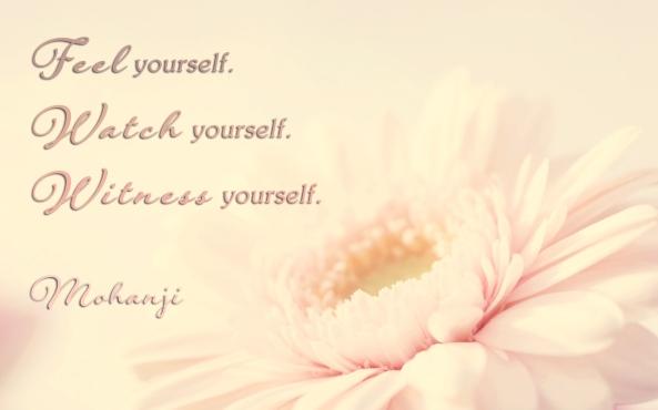 Mohanji quote - Feel yourself watch yourself witness