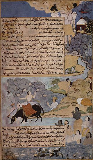 Krishna and Pandavas water their horses