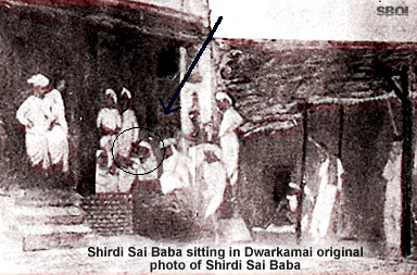Shirdi Sai sitting in Dwarakamai, original photo