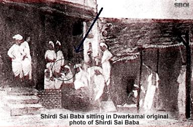 Shirdi Sai sitting in Dwarakamai, original photo