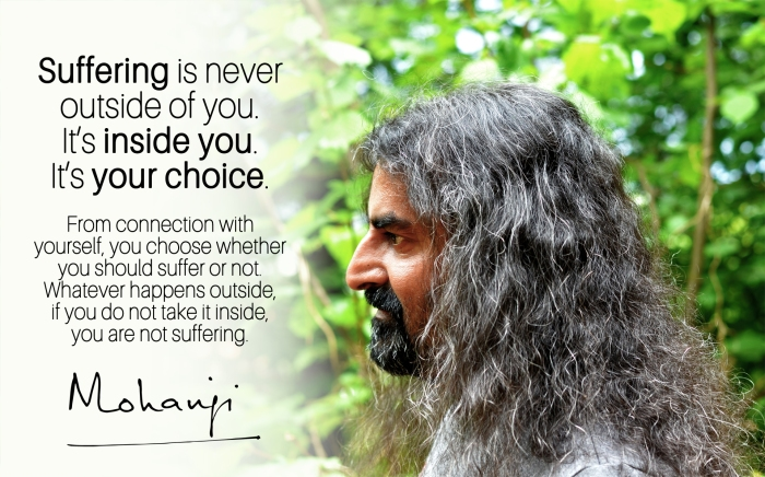 Mohanj quote - Suffering is never outside of you