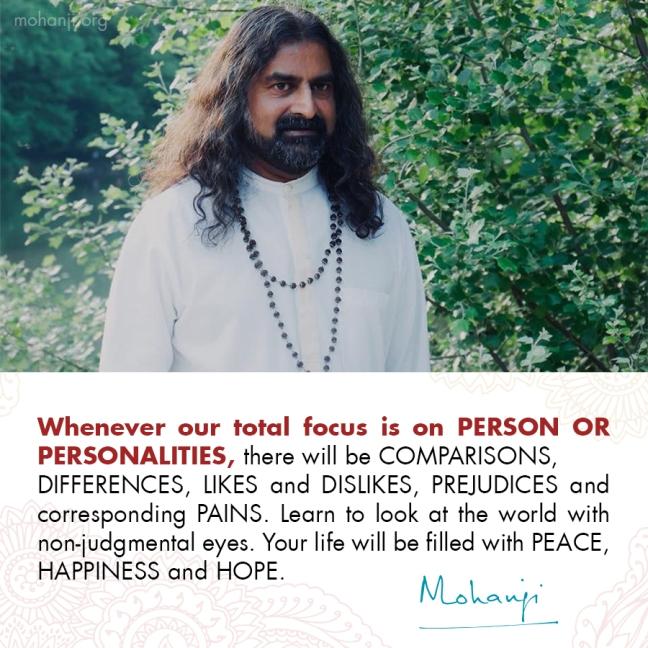 Mohanji quote - Comparison vs non-judgement