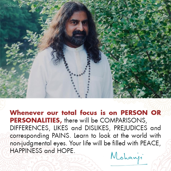 Mohanji quote - Comparison vs non-judgement