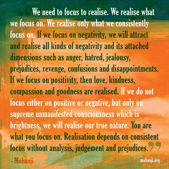 Mohanji quote - We realise what we focus on
