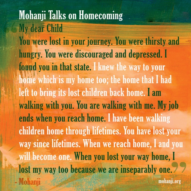 Mohanji quote - Homecoming