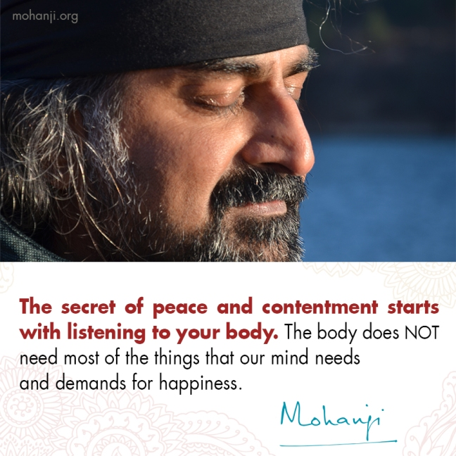 Mohanji quote - The seret to peace