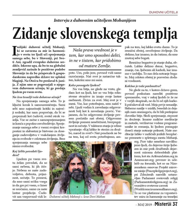 Mohanji's interview for Slovenian magazine Misterija, May 2019