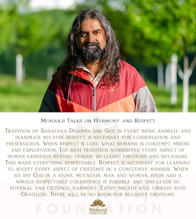 Mohanji quote - Harmony and respect, sanatana dharma