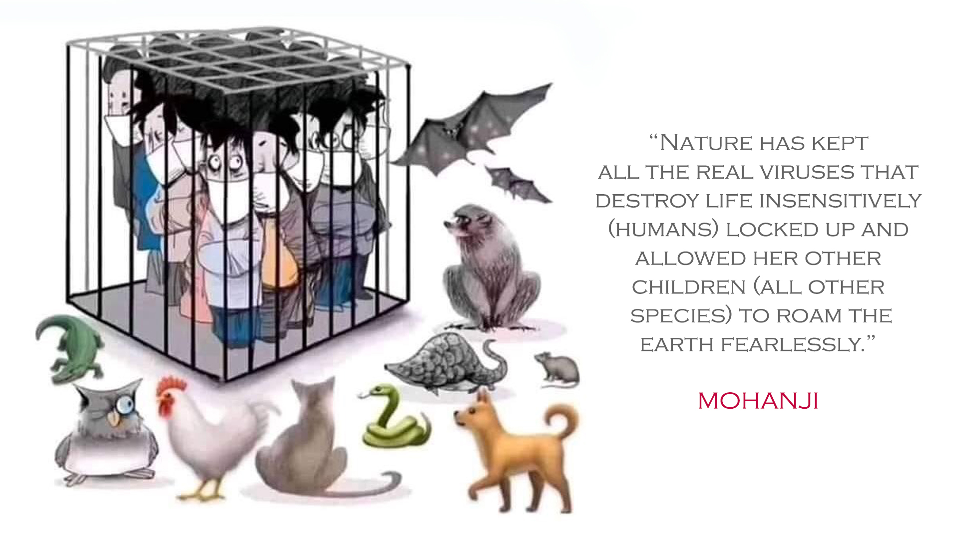 Humans in the cage, animals free - covid19 - Mohanji quote