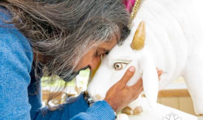 Mohanji with an animal